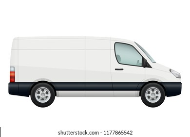 Mini van car. Side view of white minivan isolated on white. Vehicle minibus or wagon. Vector illustration