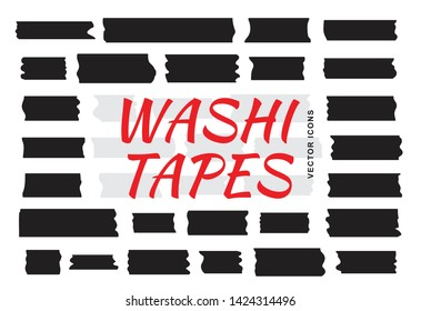 Mini washi tape strips or washy tape silhouettes. Collection of decorative adhesive strips or masking tape icons isolated on white background