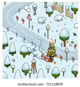 Miniature car crashing in christmas tree while driving through snowy winter landscape (isometric vector scene)