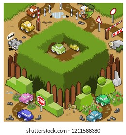 Miniature cars cruising around a high grass meadow in a garden (isometric illustration)