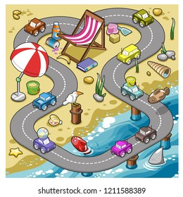 Miniature cars driving on a race track on a beach decorated with sunshade, folding chair, bucket and shovel (vector cartoon)