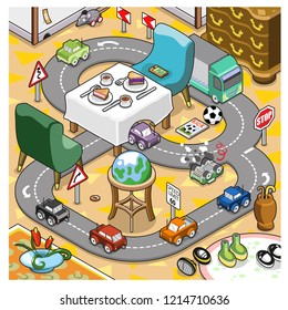Miniature cars racing in a living room with easy chairs and table set for coffee with cake slices (isometric vector)