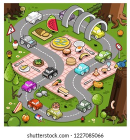 Miniature cars racing on a circuit set on a picnic blanket with food and ants in a forest (isometric cartoon)