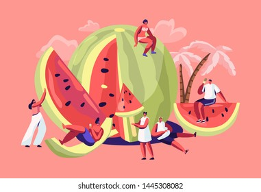 Miniature Characters in Swimsuit Relaxing on Huge Refreshing Ripe Watermelon. Summer Time, Group of People, Family and Friends Having Fun Playing on Beach, Relaxing. Cartoon Flat Vector Illustration