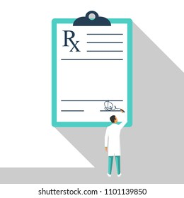 Miniature doctor writing prescription. Clipboard whit signature. Rx prescription form. Medical prescription pad. Vector illustration flat design style. Medical background, template.