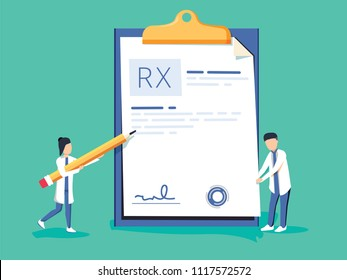 Miniature doctor writing prescription. Clipboard whit signature. Rx prescription form. Medical prescription pad. Vector illustration flat design style. Medical background, template. Online clinic