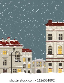 Miniature houses with drain pipe. Vector illustration with buildings of Saint-Petersburg. Snowy.
