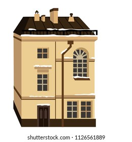 Miniature houses in the style of classicism. Vector illustration with beautiful buildings of Saint-Petersburg city