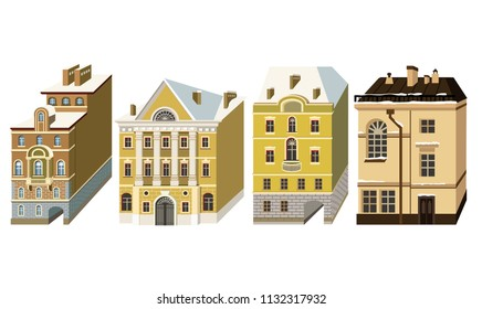 Miniature houses in the style of classicism. Vector illustration with beautiful buildings of Saint-Petersburg city.