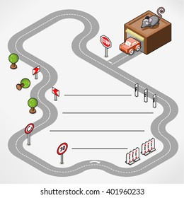 Miniature race track with car driving out of a garage, middle left blank with lines for your text (isometric illustration)