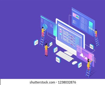 Miniature web developers maintaining the website isometric design for teamwork or Web Developing concept.