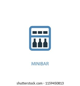 minibar concept 2 colored icon. Simple blue element illustration. minibar concept symbol design from Hotel set. Can be used for web and mobile UI/UX