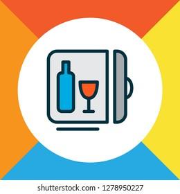 Minibar icon colored line symbol. Premium quality isolated mini fridge element in trendy style.