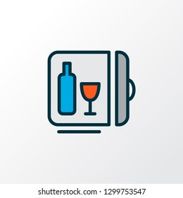 Minibar icon colored line symbol. Premium quality isolated mini fridge element in trendy style.
