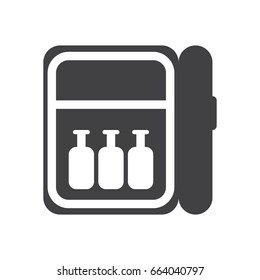 Minibar icon, filled flat sign, solid glyph pictogram, vector illustration