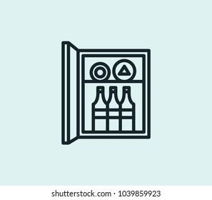 Minibar icon line isolated on clean background. Minibar icon concept drawing icon line in modern style. Vector illustration for your web site mobile logo app UI design.