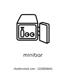 minibar icon. Trendy modern flat linear vector minibar icon on white background from thin line Hotel collection, outline vector illustration