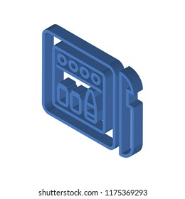 Minibar isometric left top view 3D icon