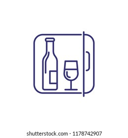 Minibar line icon. Romance, open, fridge. Wine concept. Vector illustration can be used for topics like hotel, refreshing, room service