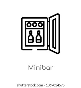 minibar vector line icon. Simple element illustration. minibar outline icon from hotel and restaurant concept. Can be used for web and mobile