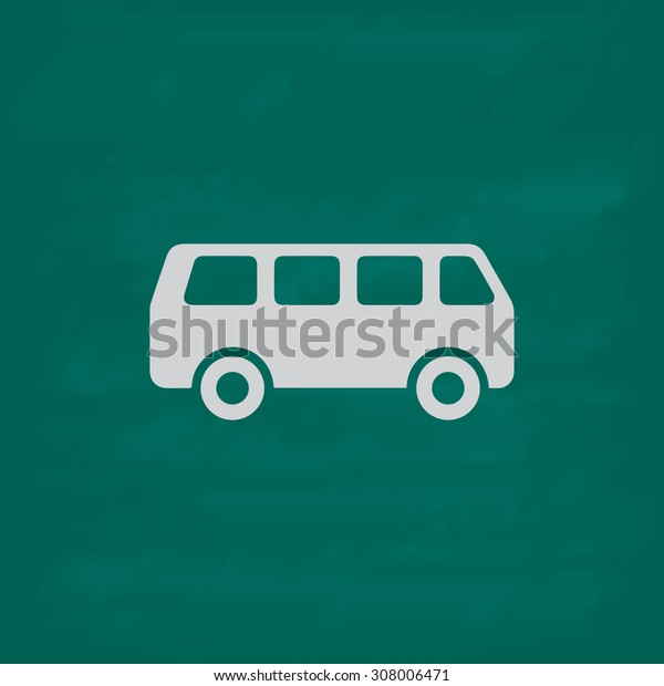 Minibus. Icon. Imitation draw with white chalk on green chalkboard. Flat Pictogram and School board background. Vector illustration symbol