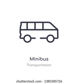 minibus outline icon. isolated line vector illustration from transportation collection. editable thin stroke minibus icon on white background