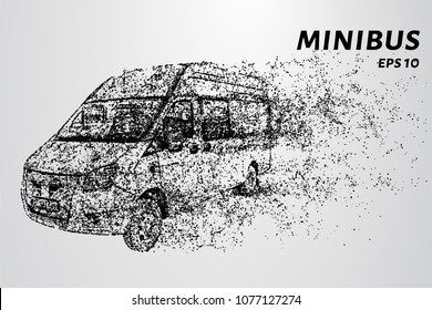 Minibus from the particles. The minibus consists of circles and dots.