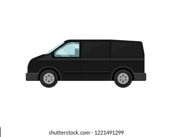 Mini-bus for passengers. Black van. Transport for airport customers. Service car. Automobile theme. Flat vector design