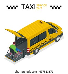 Minibus for physically disabled people. Taxi or car for man on wheelchair. Vehicle with a lift. Flat 3d vector isometric illustration.  Taxi service 24h concept.