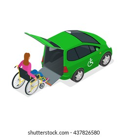 Minibus for physically disabled people. Taxi or car for woman on wheelchair. Vehicle with a lift. Flat 3d vector isometric illustration.  Taxi service 24h concept.