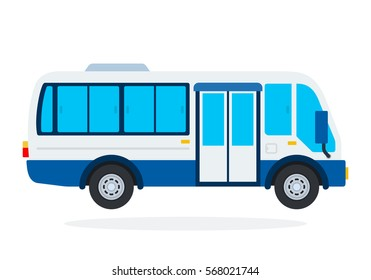 Minibus vector flat material design isolated on white