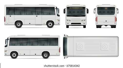 Minibus vector mock-up for advertising, corporate identity. Isolated city mini bus template on white. Vehicle branding mockup. All layers and groups well organized for easy editing and recolor.