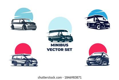 Minibus vector set EPS 10 file