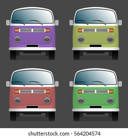 Minibuses. Colorful collection. Front view. Isolated objects. Vector illustration.