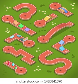 Minigolf course with ramps, obstacles and bridges (isometric vector illustration)