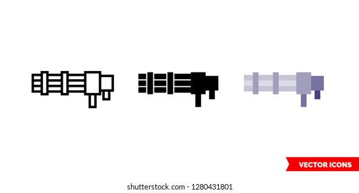 Minigun icon of 3 types: color, black and white, outline. Isolated vector sign symbol.