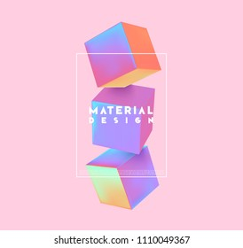 Minimal abstract art with geometric shapes, stylish background with 3d elements cube. Fashion poster, banner, design card vector illustration