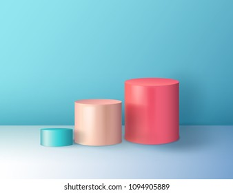 Minimal abstract colorful cylinder shape, wall scene. Platform, podium to advertise various objects. Vector illustration. Pastel colors