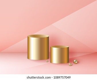 Minimal abstract cylinder shape and golden sphere, wall scene. Platform, podium to advertise various objects. Vector illustration in pastel colors