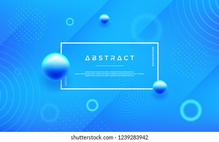 Minimal abstract geometric blue background with blue ball. Trendy blue gradient vector background.