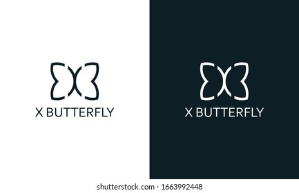 Minimal abstract line art letter X Butterfly logo. This logo icon incorporate with letter X and butterfly wing in the creative way.