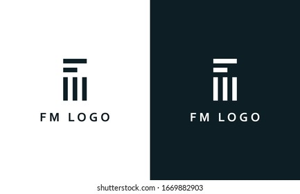 Minimal abstract line art letter FM logo. This logo icon incorporate with letter F and M in the creative way.