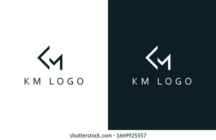 Minimal abstract line art letter KM logo. This logo icon incorporate with letter K and M in the creative way.