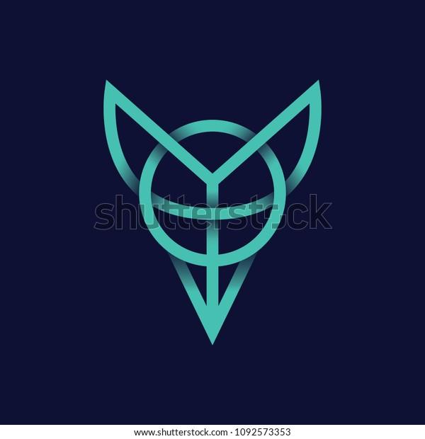 Minimal Animal Fox Logo Icon Line Stock Vector (Royalty Free) 1092573353