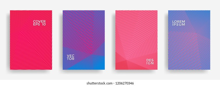 Minimal annual report design vector collection. Halftone lines texture cover page layout templates set. Report covers graphic design, business brochure pages corporate templates.