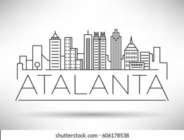 Minimal Atalanta Linear City Skyline with Typographic Design