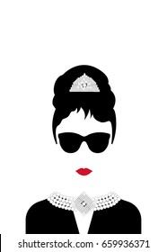 minimal Audrey Hepburn vector illustration, portrait retrò woman, diva with Pearl jewelry and black glasses