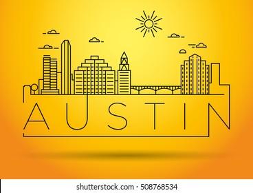 Minimal Austin City Linear Skyline with Typographic Design