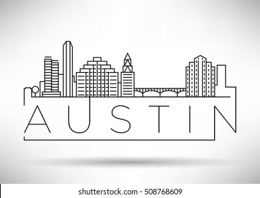 Minimal Austin City Linear Skyline with Typographic Design
