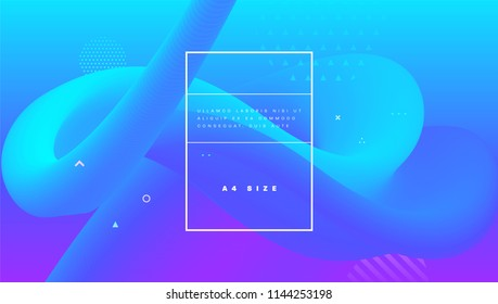 Minimal background with abstract liquid fluid shape. Trendy neon color elements. Eps10 vector illustration